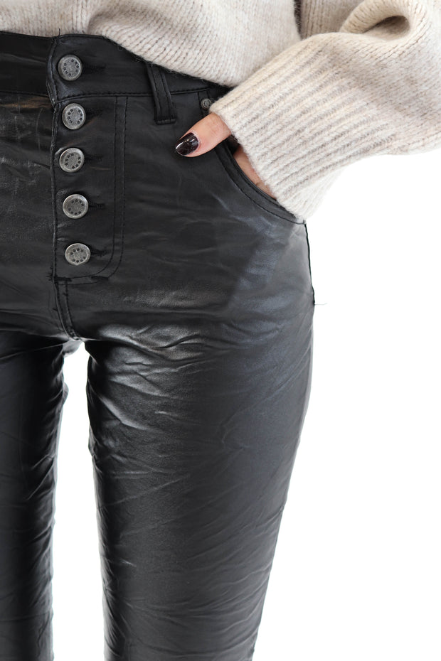 Pleather Crinkle Pants