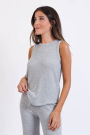 Soft Grey Ribbed Knit Tank