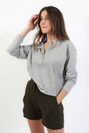 Heather Grey Henley Top