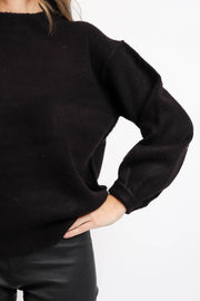 Black Knit Mockneck Sweater