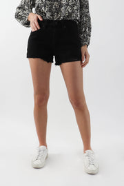 High-Rise Black Denim Shorts