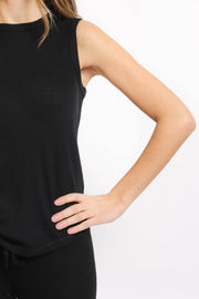 Soft Black Ribbed Knit Tank