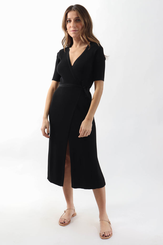 Ribbed Wrap Dress