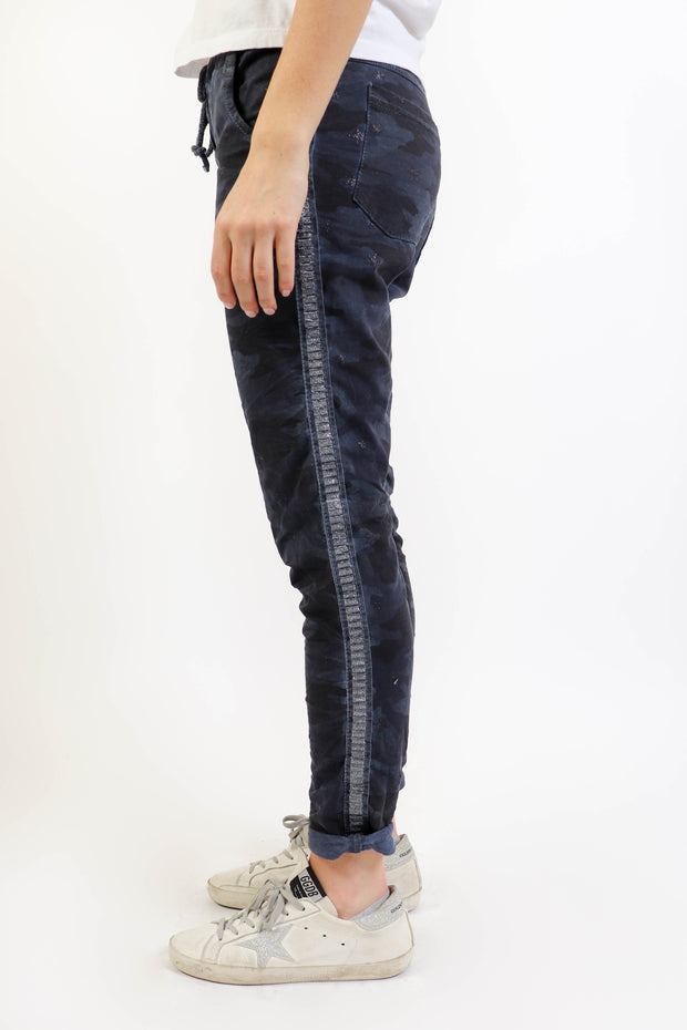 Navy Camo Star Crinkle Pant
