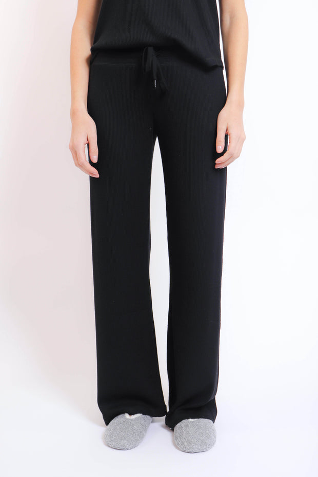 Soft Black Ribbed Wide Leg Pant