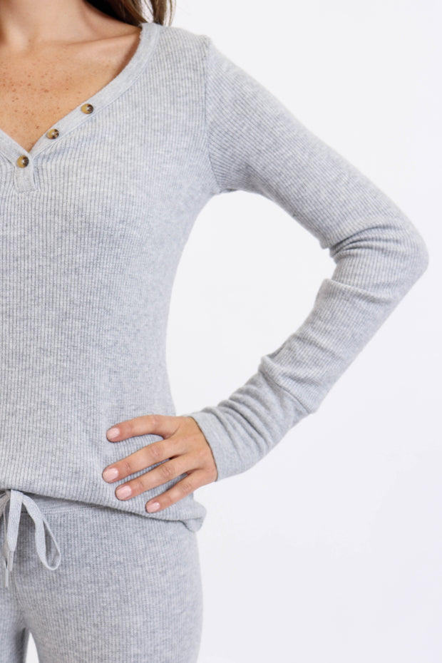 Soft Grey Ribbed Henley Top