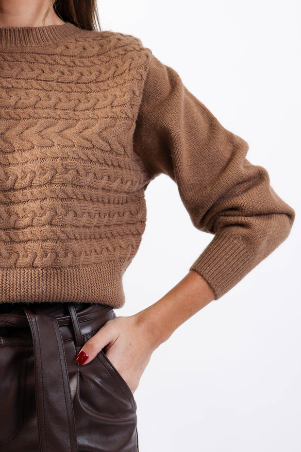 Shoulder Pad Cable Knit Sweater