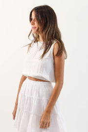 Sleeveless Gauze Crop Top