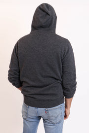 Charcoal Men's Cashmere Zip-Up Hoodie
