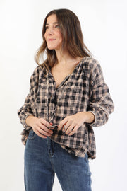 Plaid Boho Blouse
