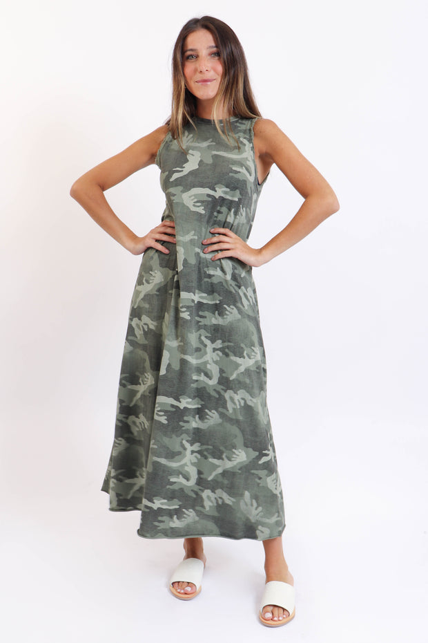 Camo Sleeveless Maxi Dress