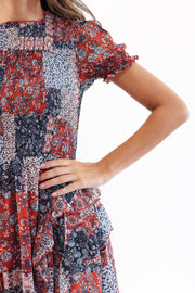 Smocked Bodice Floral Mini Dress