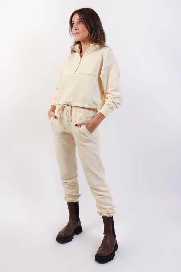Cream Half Zip Lounge Set