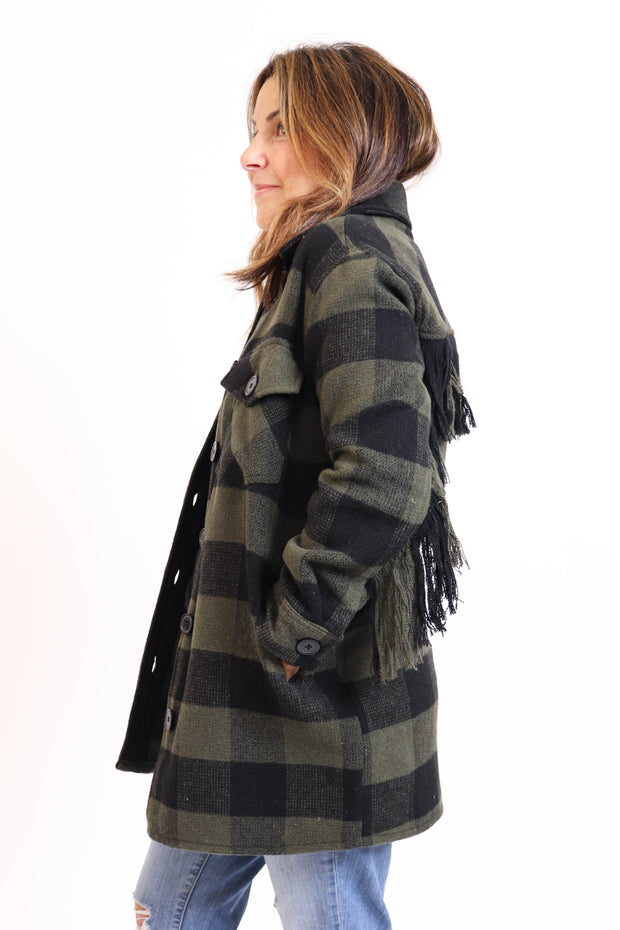 Green Plaid Fringe Jacket