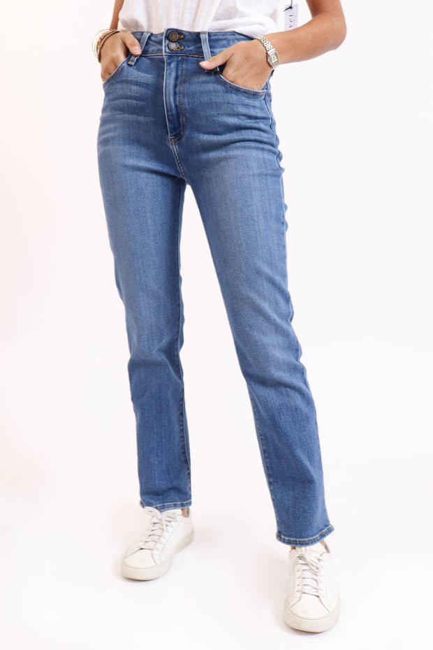 Double Button Straight Medium Denim