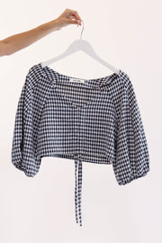 Navy Gingham Crop Top