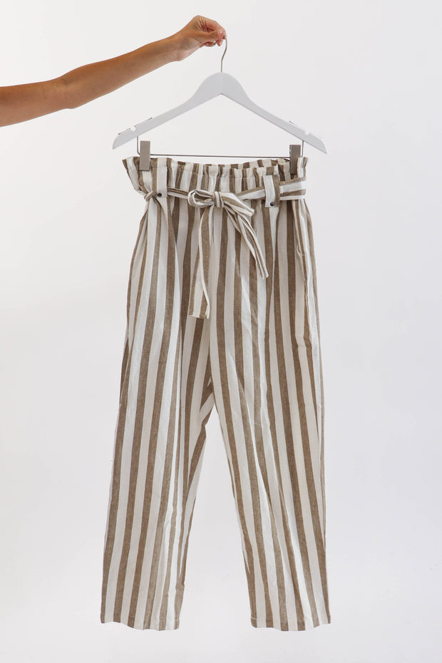 Woven Natural Striped Pant