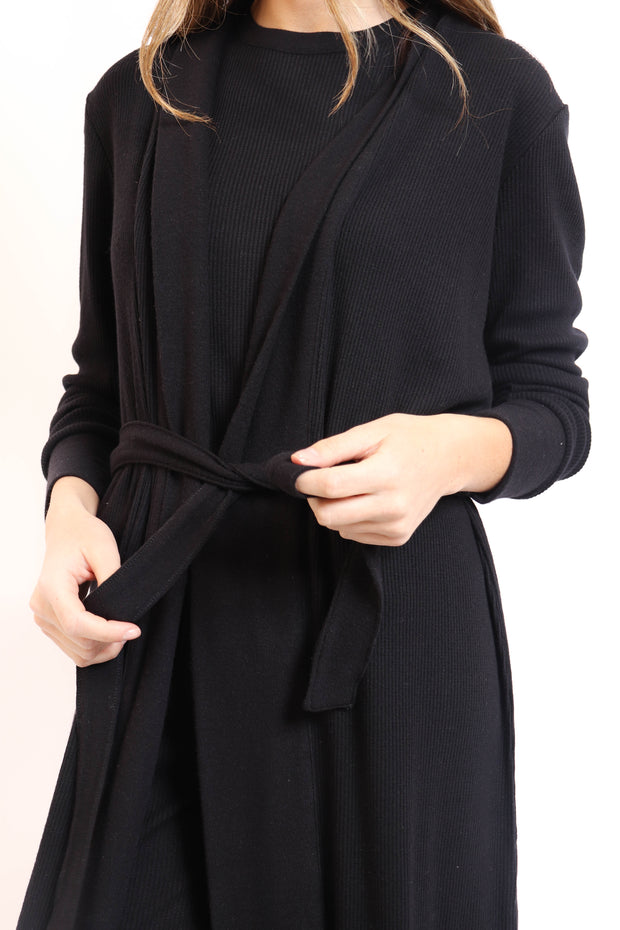 Soft Black Ribbed Robe