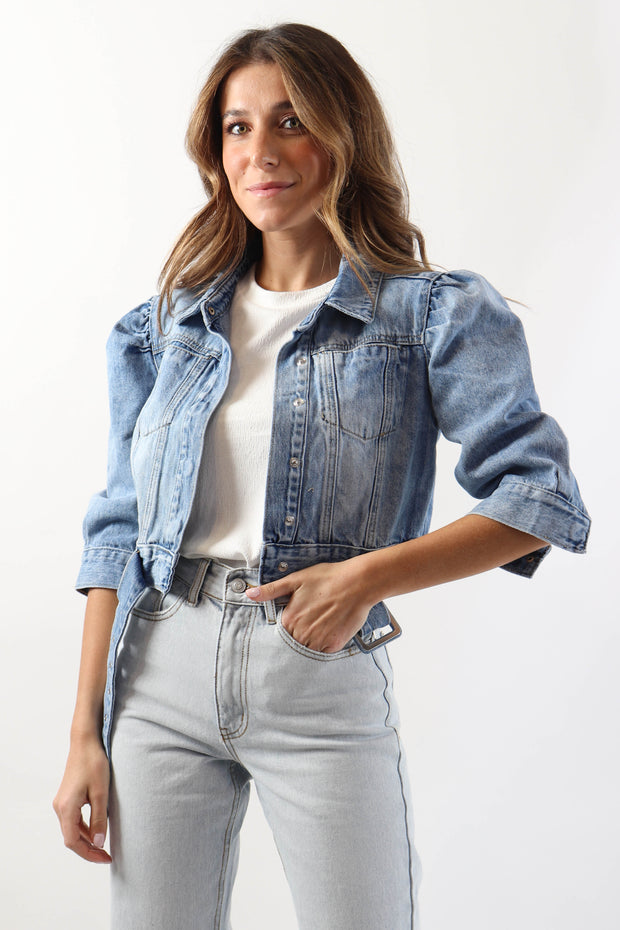Puff Shoulder Denim Jacket