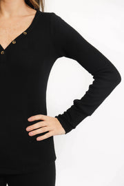 Soft Black Ribbed Henley Top