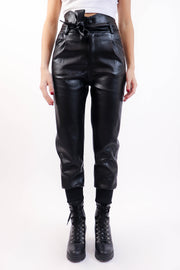 Black Paperbag Pleather Joggers
