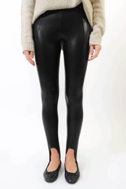 Faux Leather Stirrup Legging