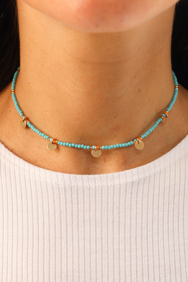 Turquoise Rounded Disc Choker