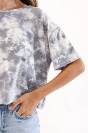 Grey Marble Tie Dye Cropped T-Shirt