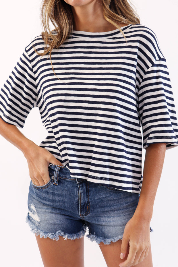 Terry Knit Striped Crop Tee