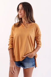 Orange Henley Long Sleeve