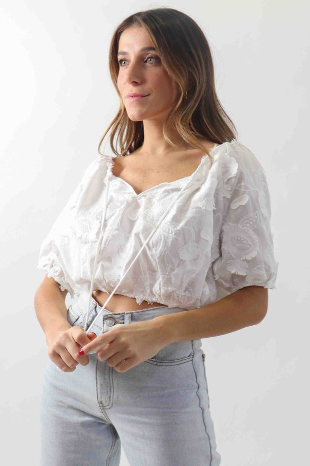 Floral Embroidery Cropped Blouse