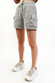 Heather Grey Cargo Waffle Short