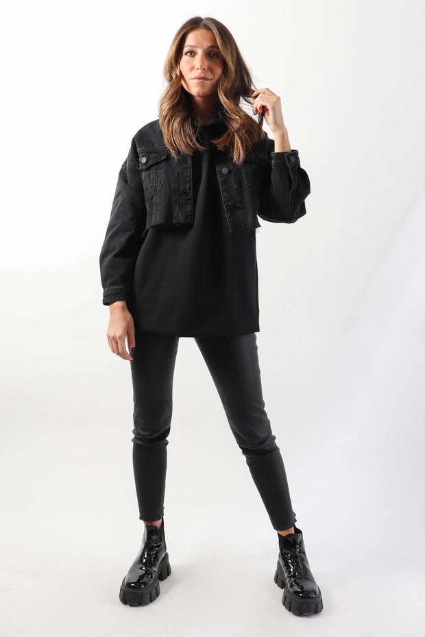 Cropped Black Denim Jacket