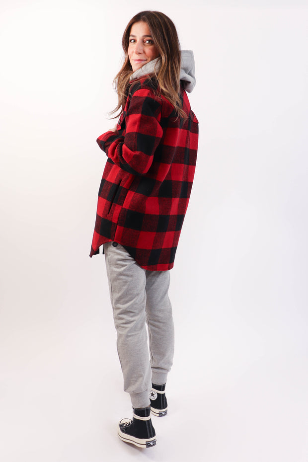 Red and Black Plaid Shirt Jacket