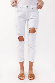 White High Rise Destroyed Relaxed Skinny Jean