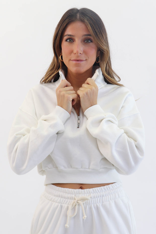 Cream Half-Zip Sweatshirt