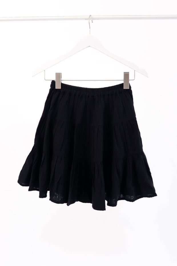 Black Tiered Gauze Skirt