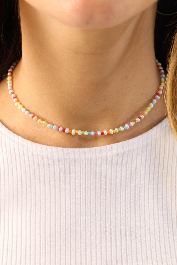 Rainbow & Small Potato Pearl Choker