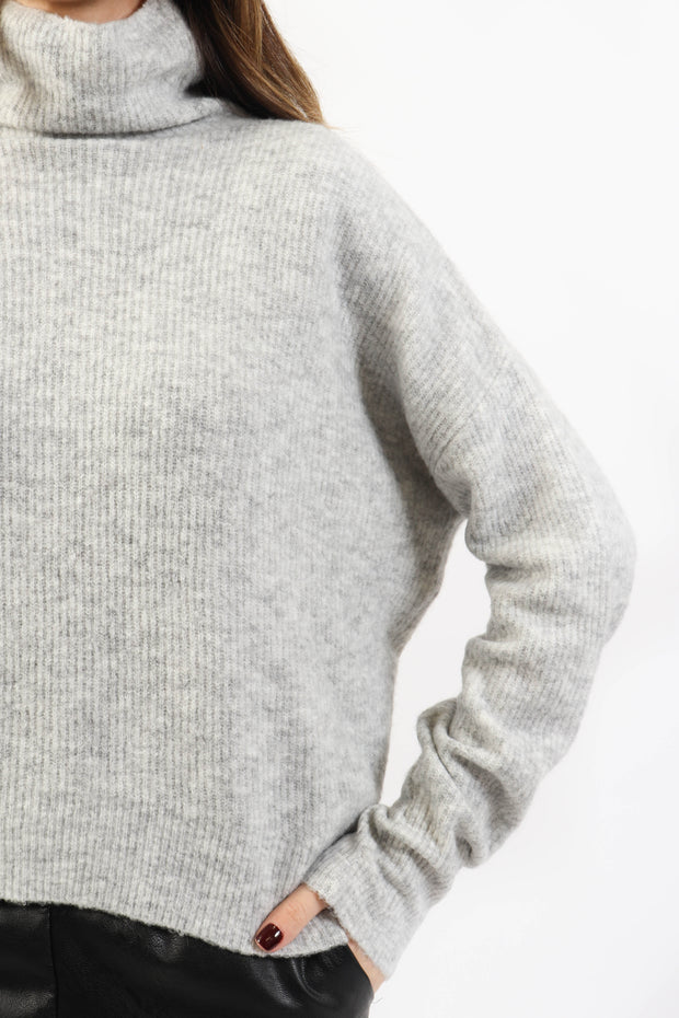 Heather Grey Thin Knit Turtleneck