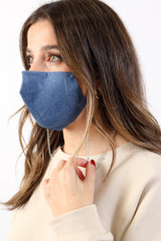 Denim Mask with Chain