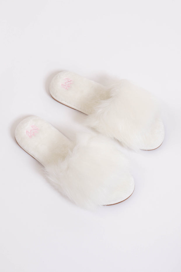Faux Fur White Slippers