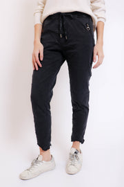 Washed Black Crinkle Pant