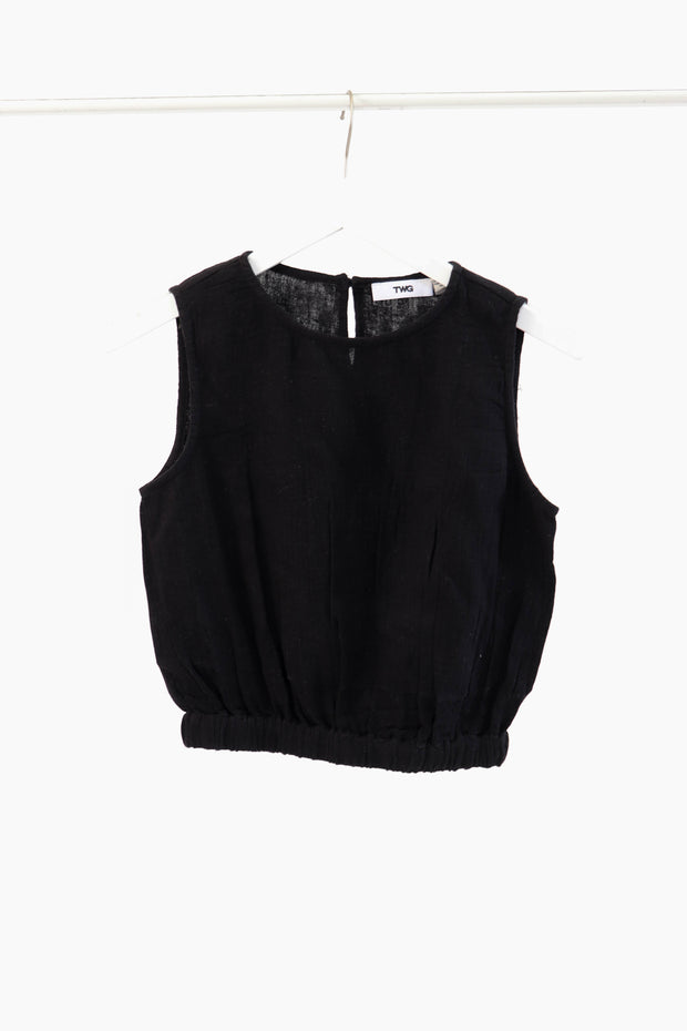 Black Sleeveless Gauze Crop Top