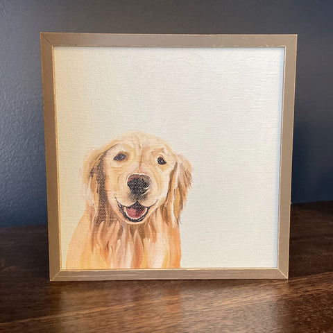 Blonde Retriever Mini Framed Canvas