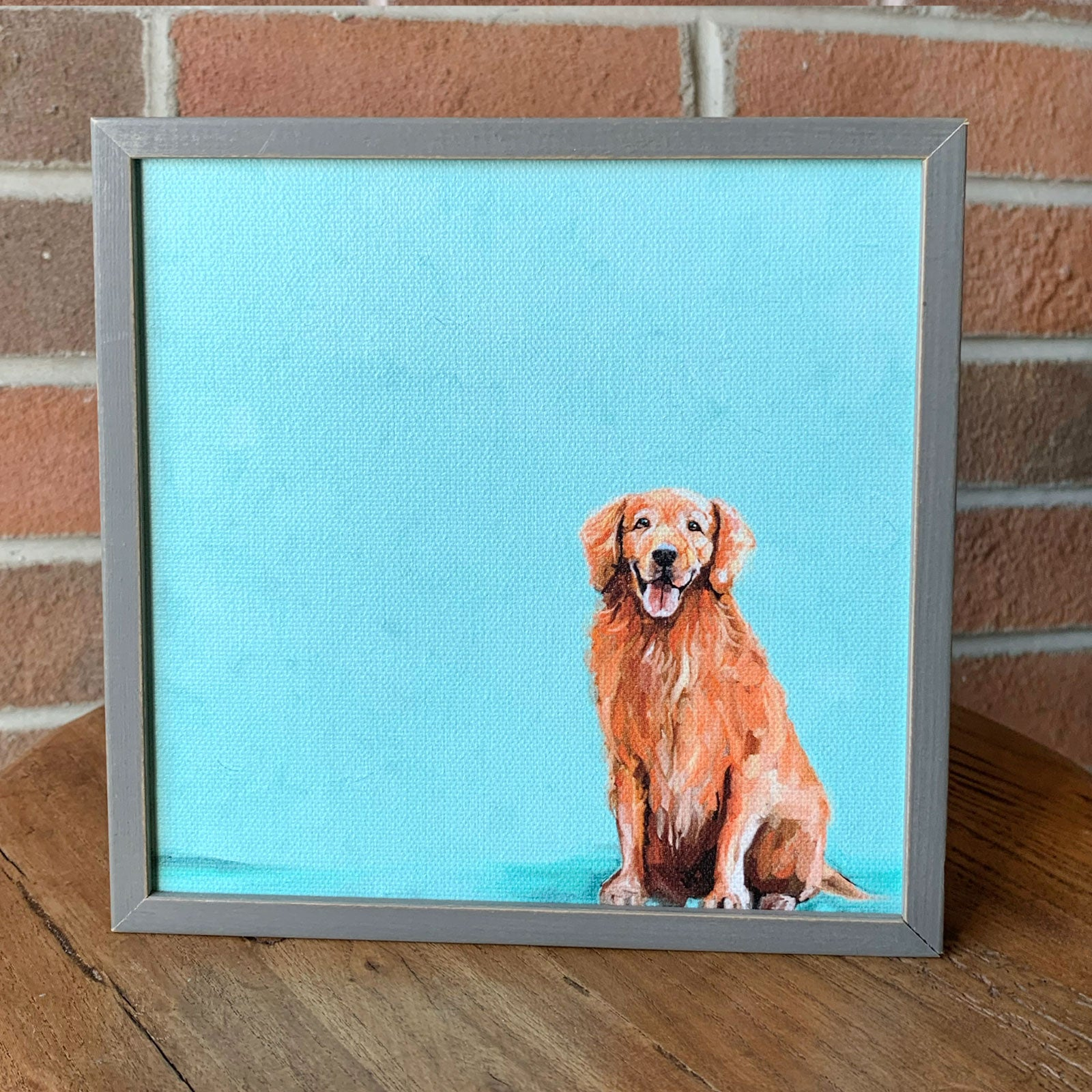 Sweet Golden Retriever Mini Framed Canvas