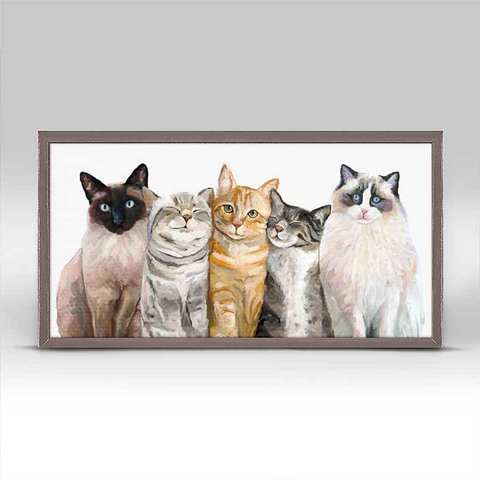 Cat Bunch Mini Framed Canvas