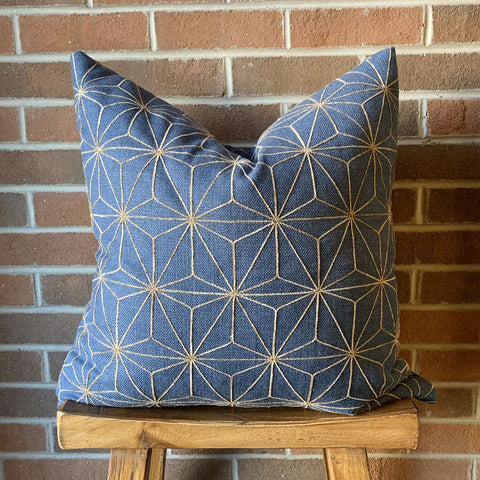 "22"" x 22"" Pillow Gold and Navy"