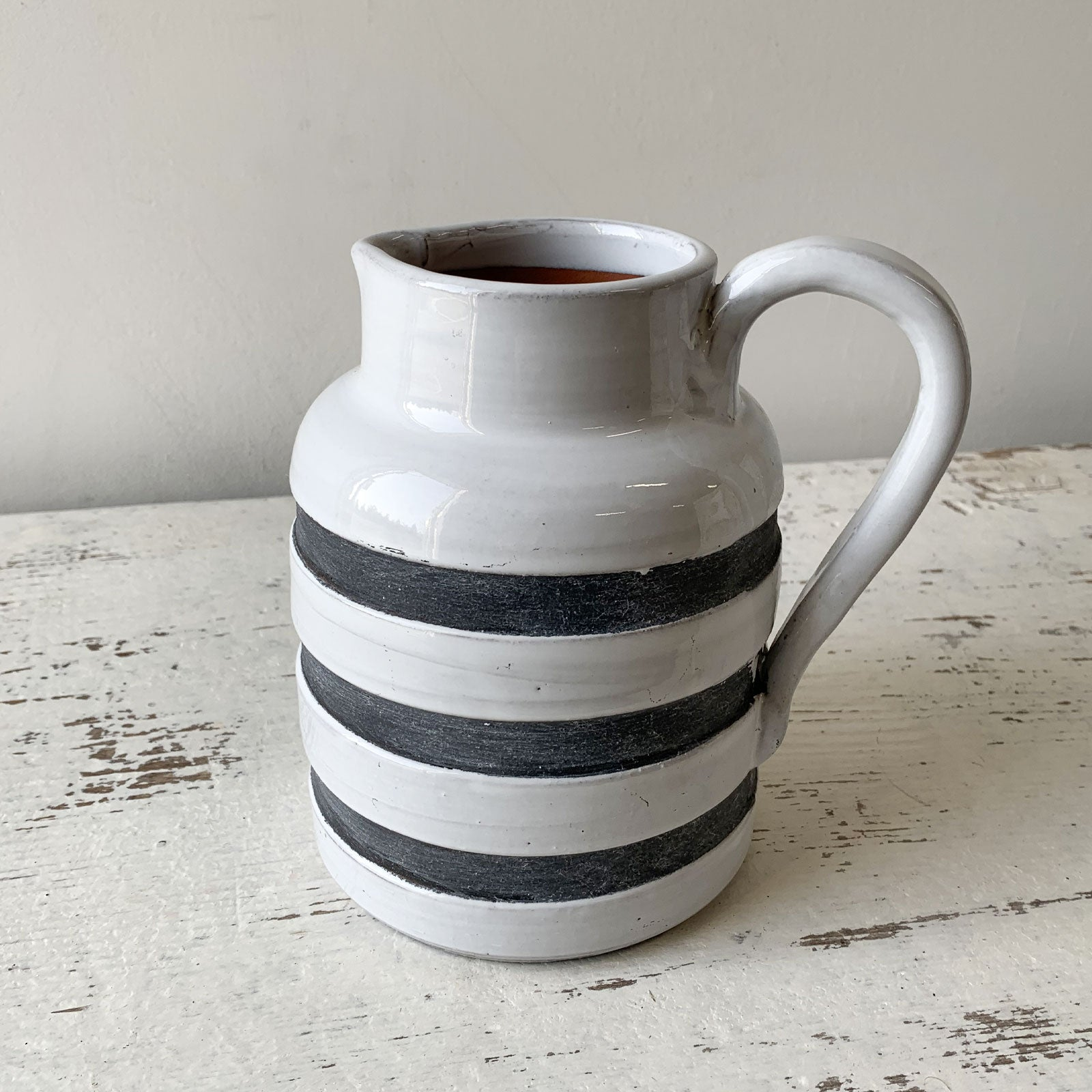 White & Blue Ceramic Jug - Small