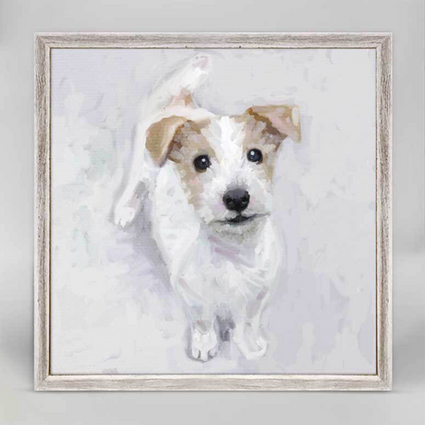Jack Russell Pup Mini Framed Canvas