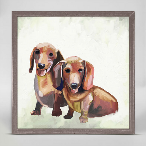 Dachshund Duo Mini Framed Canvas